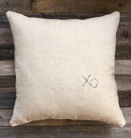 'XO' Natural Linen Pillow 22 x 22