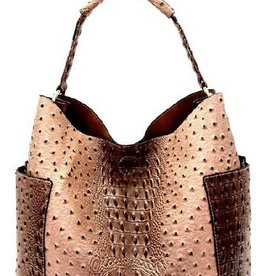 Ostrich Print Side Pocket Hobo Bag