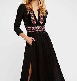 Free People Flora Midi Dress Black