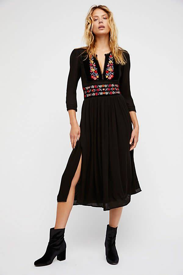 Free People Flora Midi Dress Black