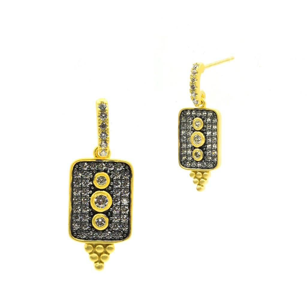 Freida Rothman Contemporary Deco Pave Drop Earrings
