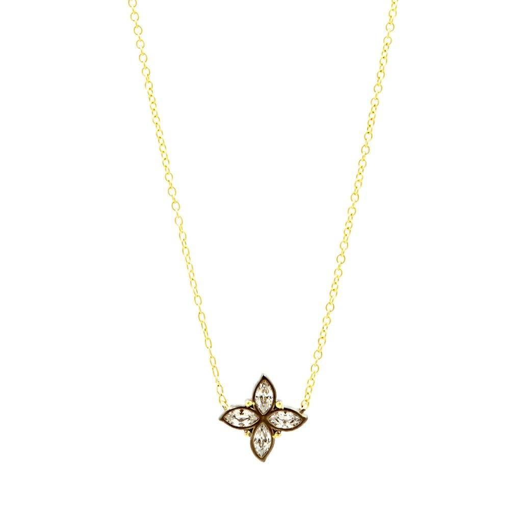 Freida Rothman Fleur Bloom Clover Leaf Pendant Necklace