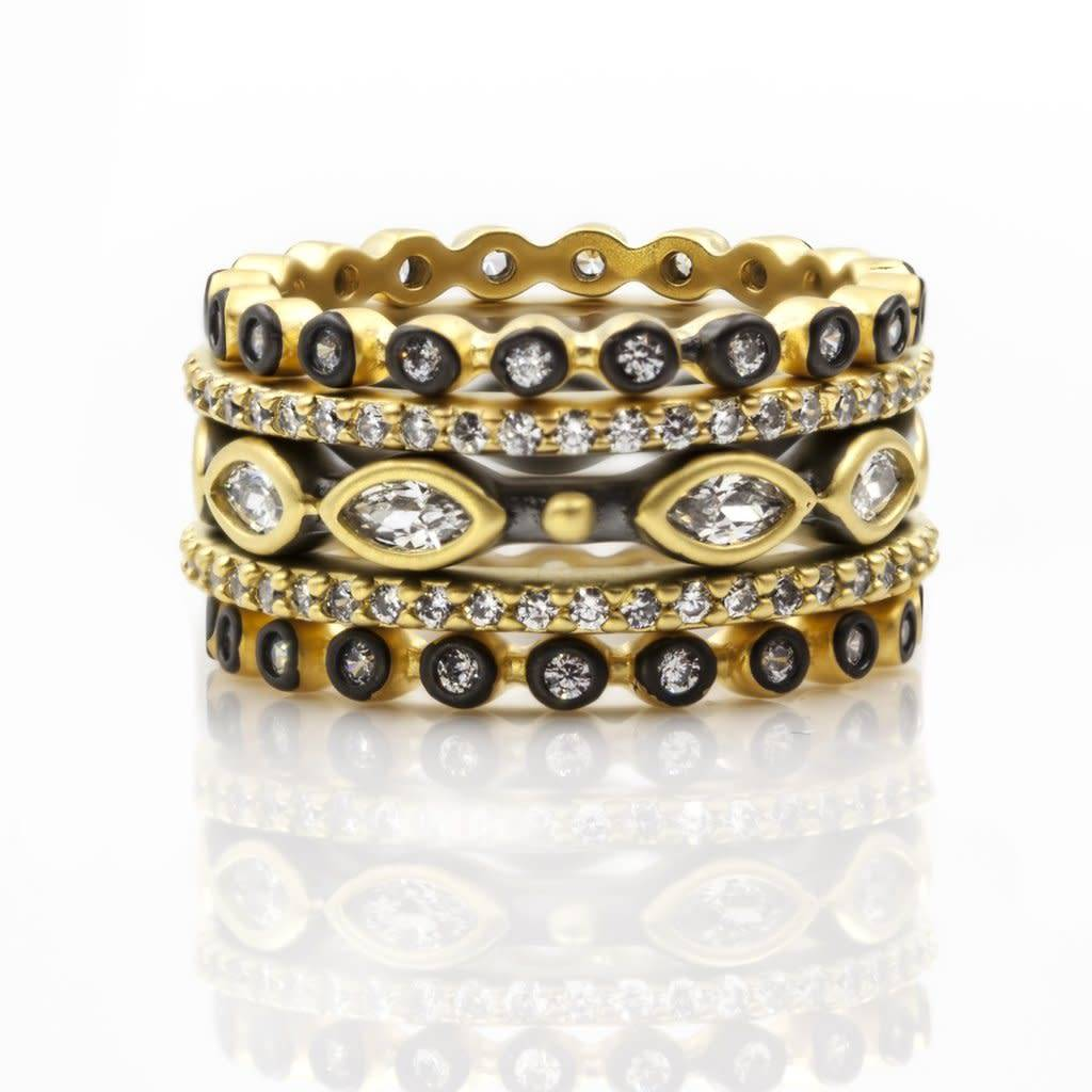 Freida Rothman Signature Mixed Marquise Station 5 Stack Ring
