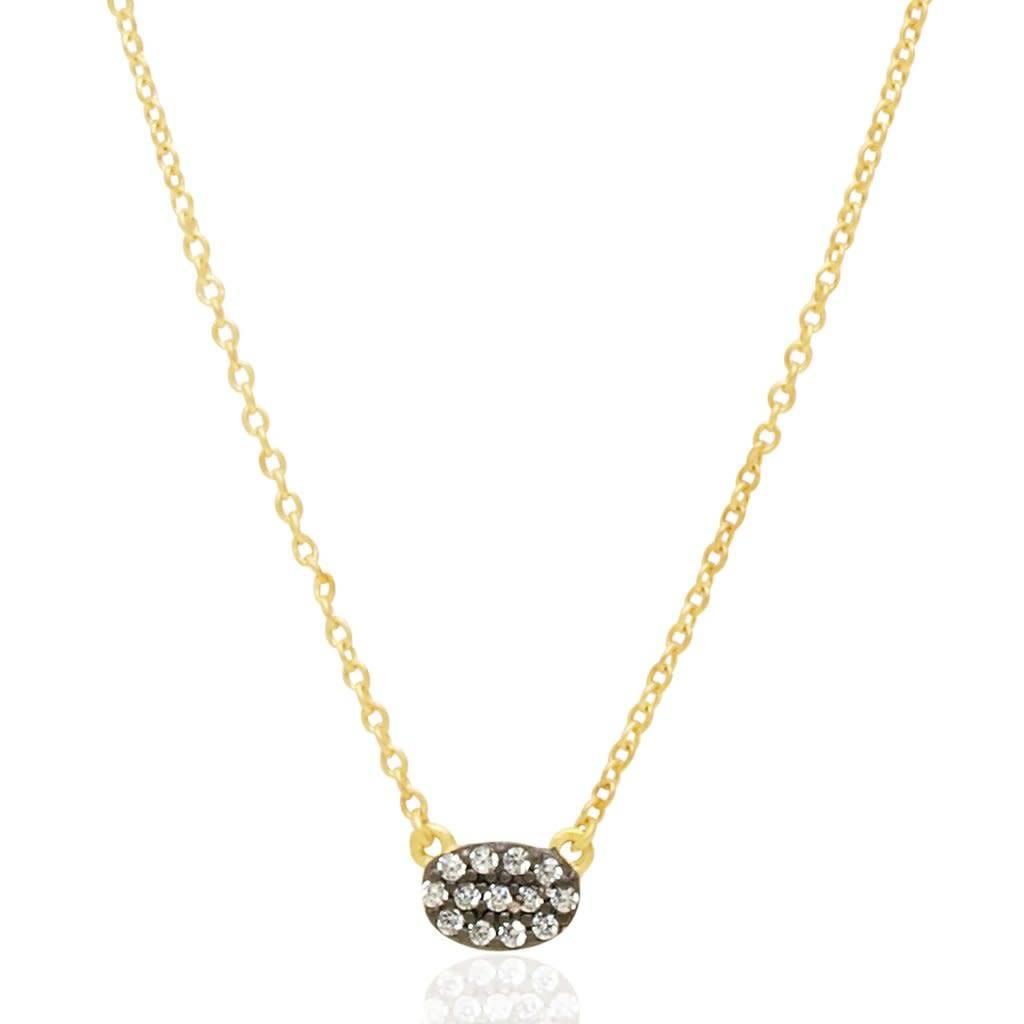 Freida Rothman Tiny Pavé Oval Pendant Necklace A7T1Vzq