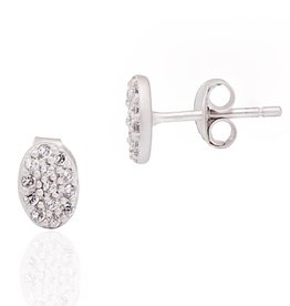 Freida Rothman Mini Oval Pave Stud Earrings