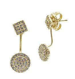 Freida Rothman Pave Harlequin/ Pave Disc Jacket Earring