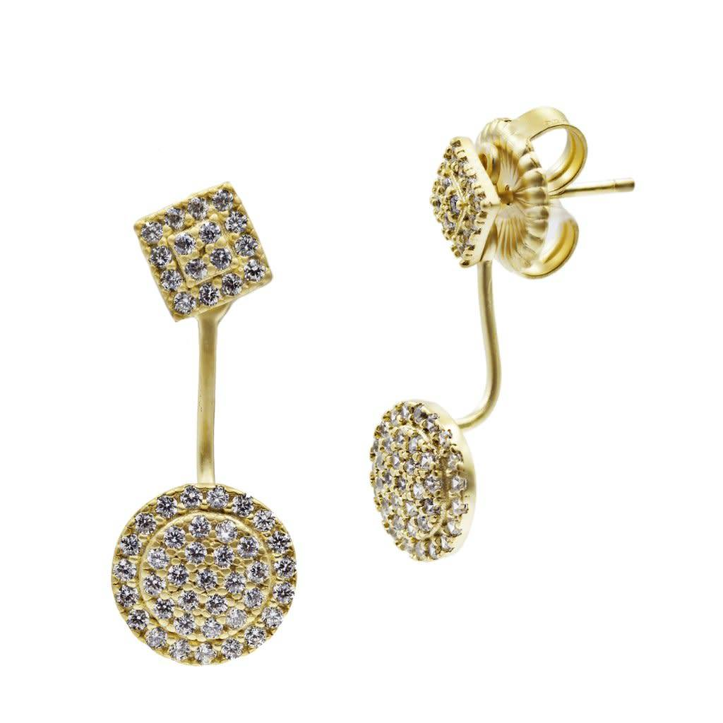 Freida Rothman Pave Harlequin/ Pave Disc Jacket Earring