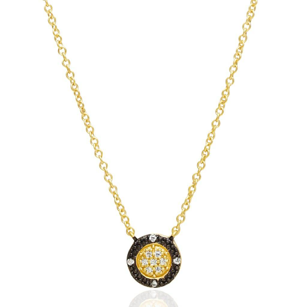 Freida Rothman Two-Tone Pave Round Necklace