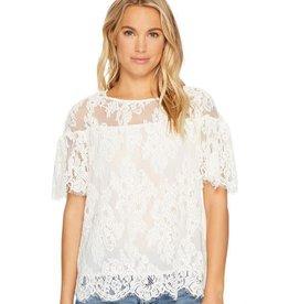 BB Dakota Alda Ruffle Sleeve Lace Top Ivory