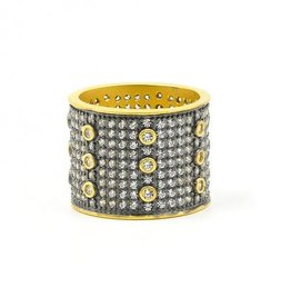 Freida Rothman Signature All Over Pave Wide Band Ring
