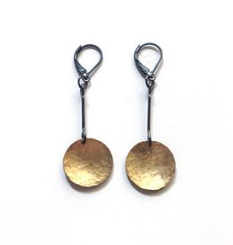 Hammered Disc Drop Earring