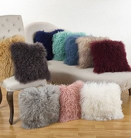 "Mongolian Lamb Pillow Charcoal 16"""