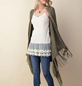 Crochet Fringe Knit Cardigan Olive