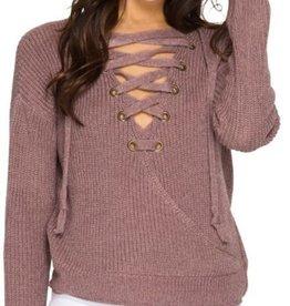 Lace Up Surplice Sweater Rose Mocha