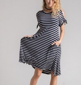 Striped Cold Shoulder Dress w/ Sleeve Ties Navy