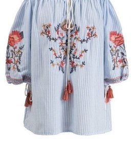 Off Shoulder Embroidered Top with Tassel