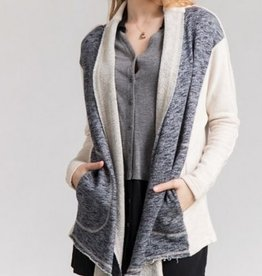 Color Block Cardigan Ivory/Blue