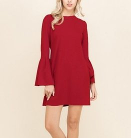 Bell Sleeve Shift Dress Red