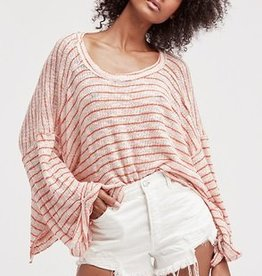 Free People Striped Island Girl Hacci Pink Combo