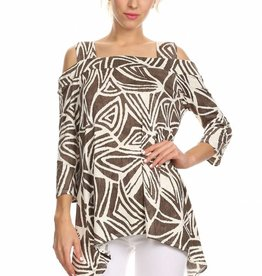 Abstract Print Cold Shoulder Top Brown