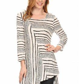 Striped Assymetrical Tunic White/Black