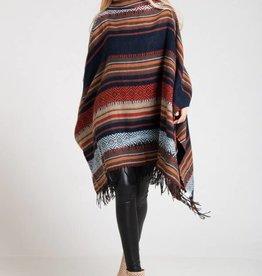 Aztec Jacquard Knit Poncho Multi