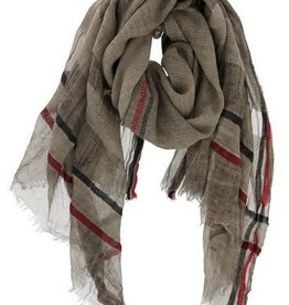 Loose Knit Striped Edge Scarf