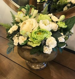 Ranunculus and Teacup Roses in Brown Ceramic Urn