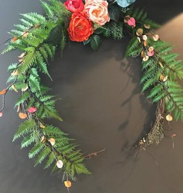 Delicate Spring Fern Accent Open Wreath