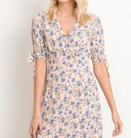 Short Sleeve Dress with Side Slit Blush