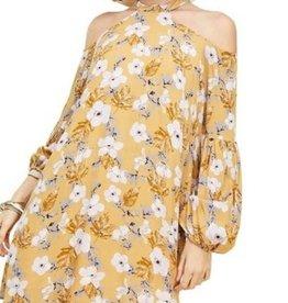 Floral Cold Shoulder Halter Dress Mustard