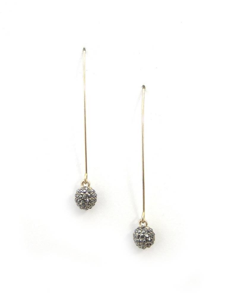 Hematite Stone Ball Gold Wire Hook Earring