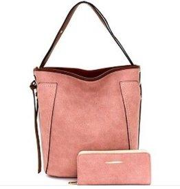 Denim Effect Hobo Bag w/ Wallet