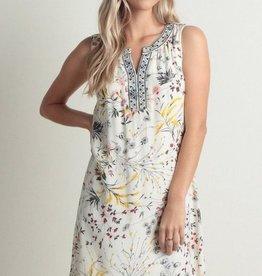 Printed Dress with Tape Trim Cream