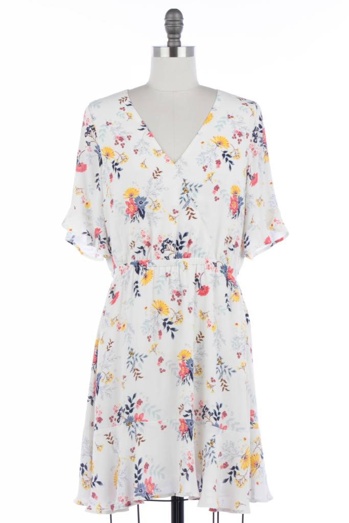 Floral Print Dress with Elastic Band Cream