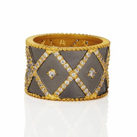 Freida Rothman Signature Geo Stripe Cigar Band Ring