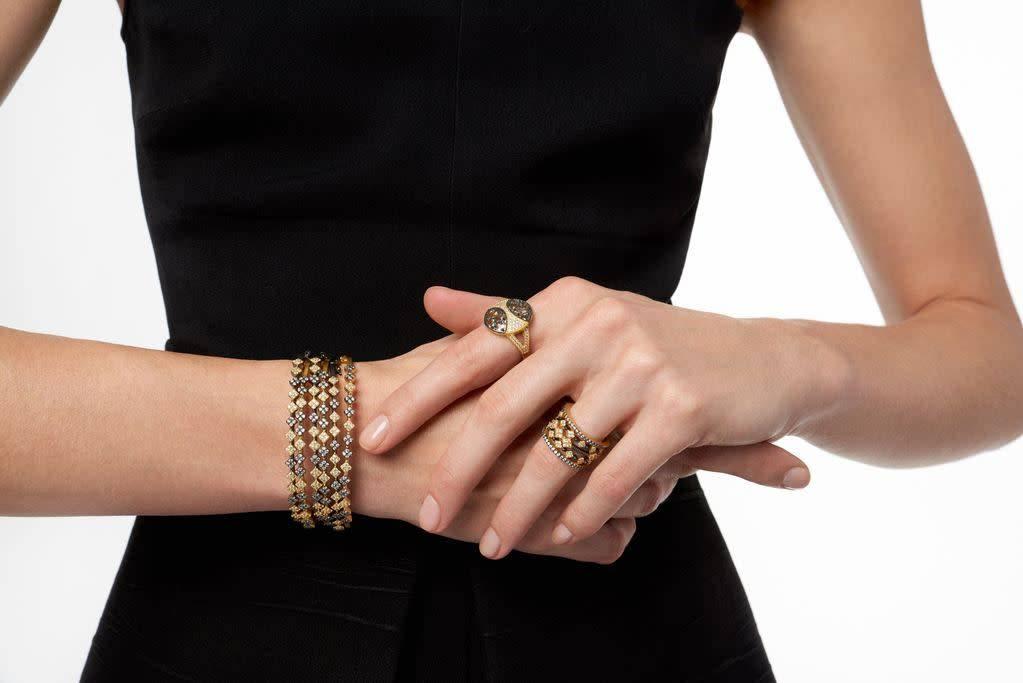 Freida Rothman Rose D'or Double Hinge Bracelet Set/2