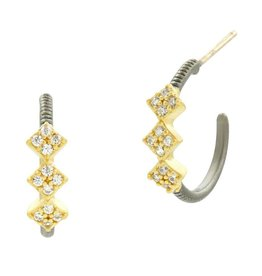 Freida Rothman Rose D'or Hoop Huggie Earrings