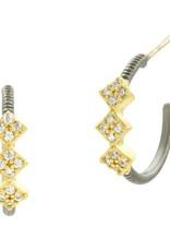 Freida Rothman Rose D'or Hoop Huggie Earrings