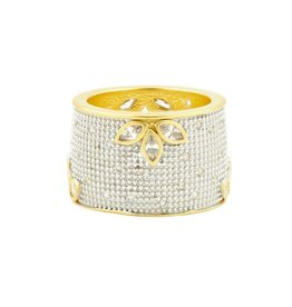 Freida Rothman Fleur Bloom All Over Pave Cigar Band Ring