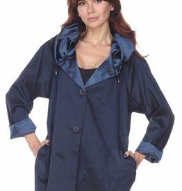 Matte/Shine Reversible Raincoat Navy
