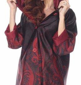 Pleated Hood Reversible Raincoat Red