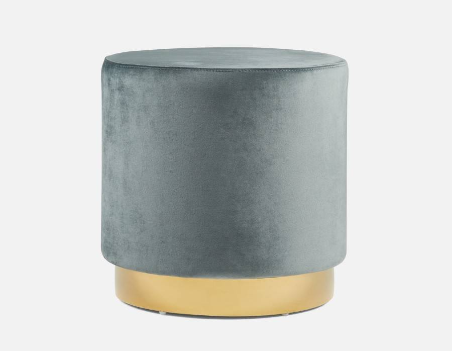 Velvet with Gold Band Ottoman - Blue/Grey