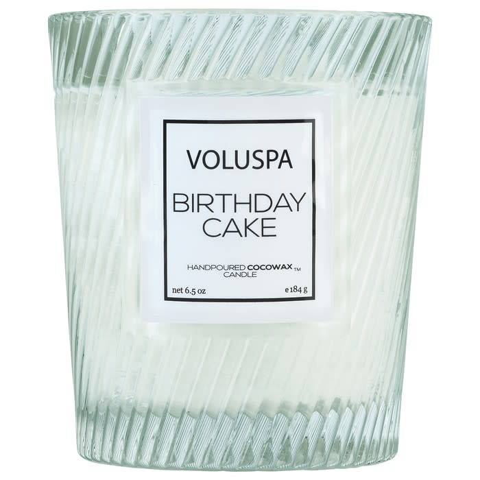 Classic Textured Glass Candle - Birthday Cake