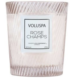 Classic Textured Glass Candle - Rose Champs