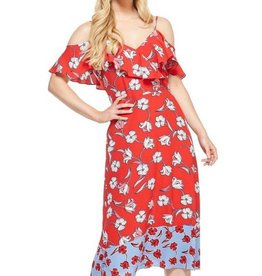 Floral Ruffle Maxi Dress Red/Blue