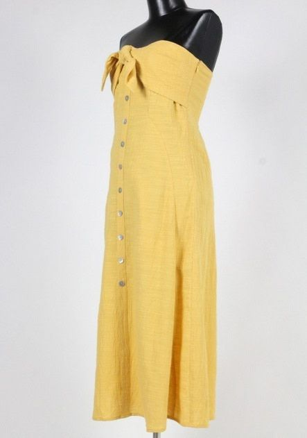 Strapless Bow Tie Dress Mustard