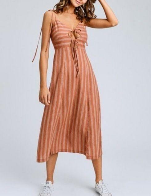 Stripe Sleeveless Cut Out Midi Dress Sienna