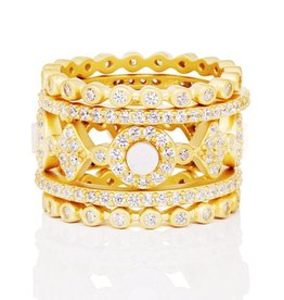 Freida Rothman Signature 5 Stack Ring w Mother of Pearl