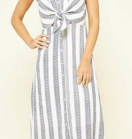 Knotted Tie Detail Midi Dress Navy/White